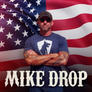 mike drop podcast with mike ritland in front of flag